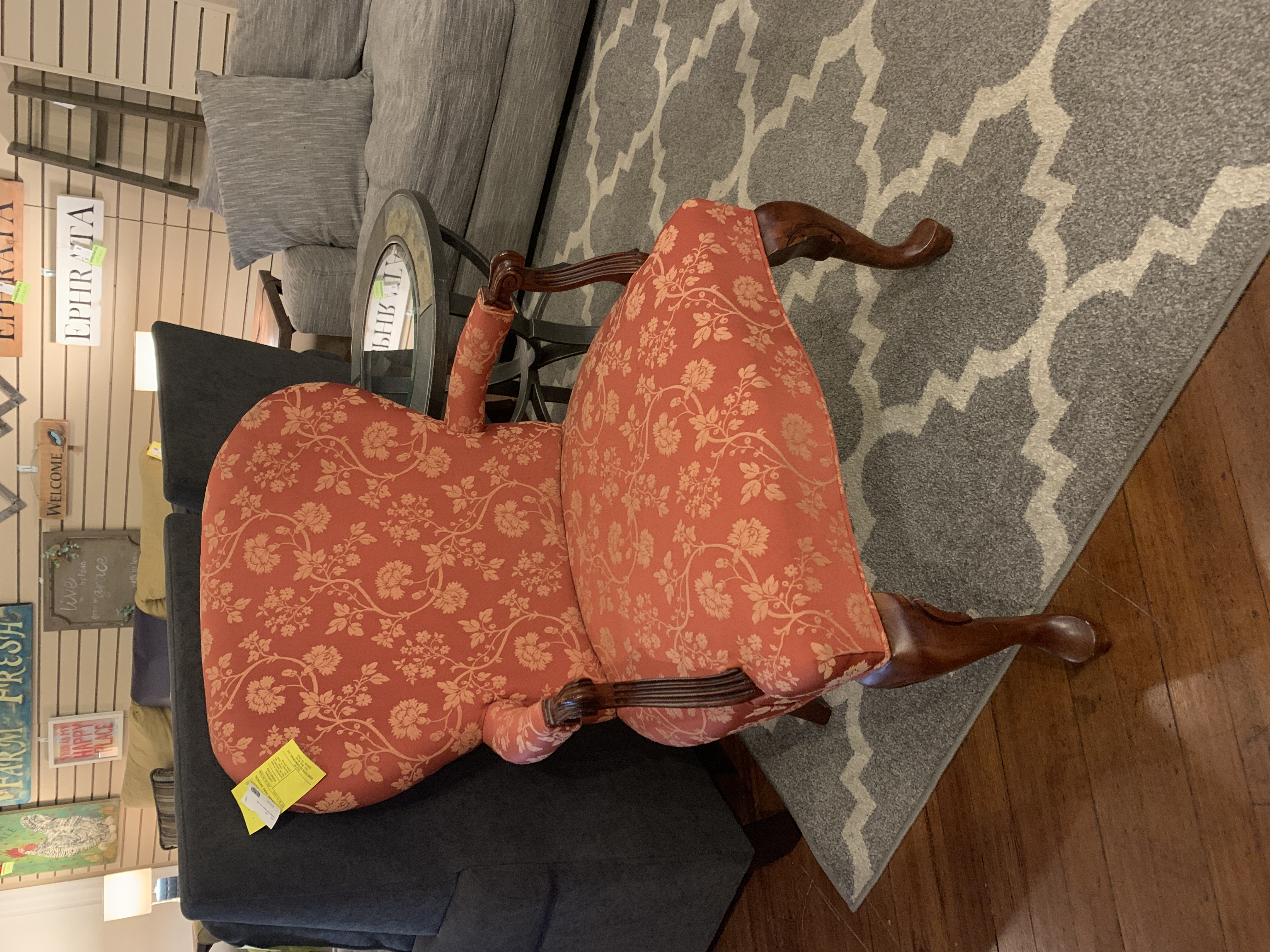 RED PATTERN ARM CHAIR