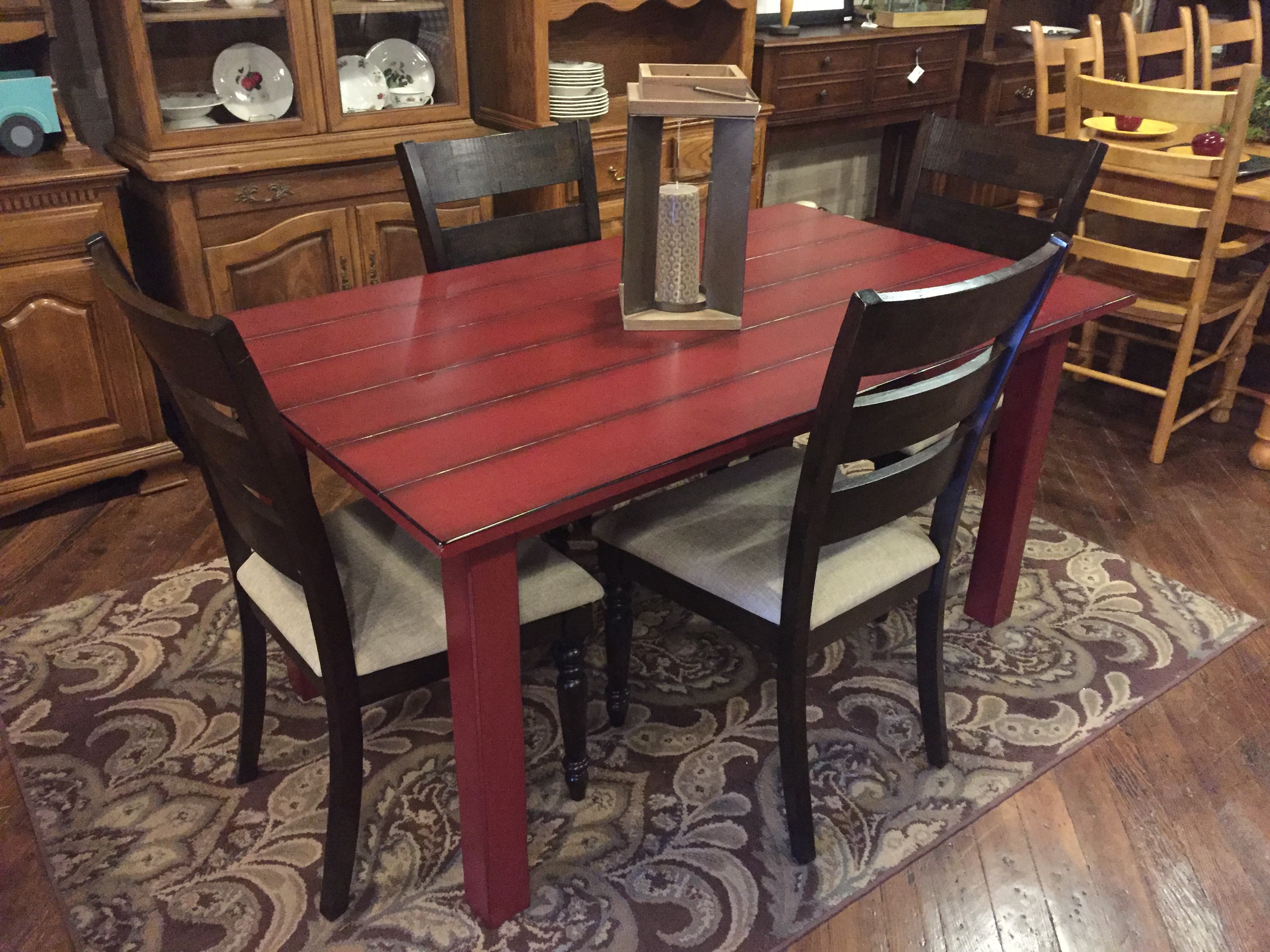 RED FARM TABLE & 4 ESPRESSO CHAIRS