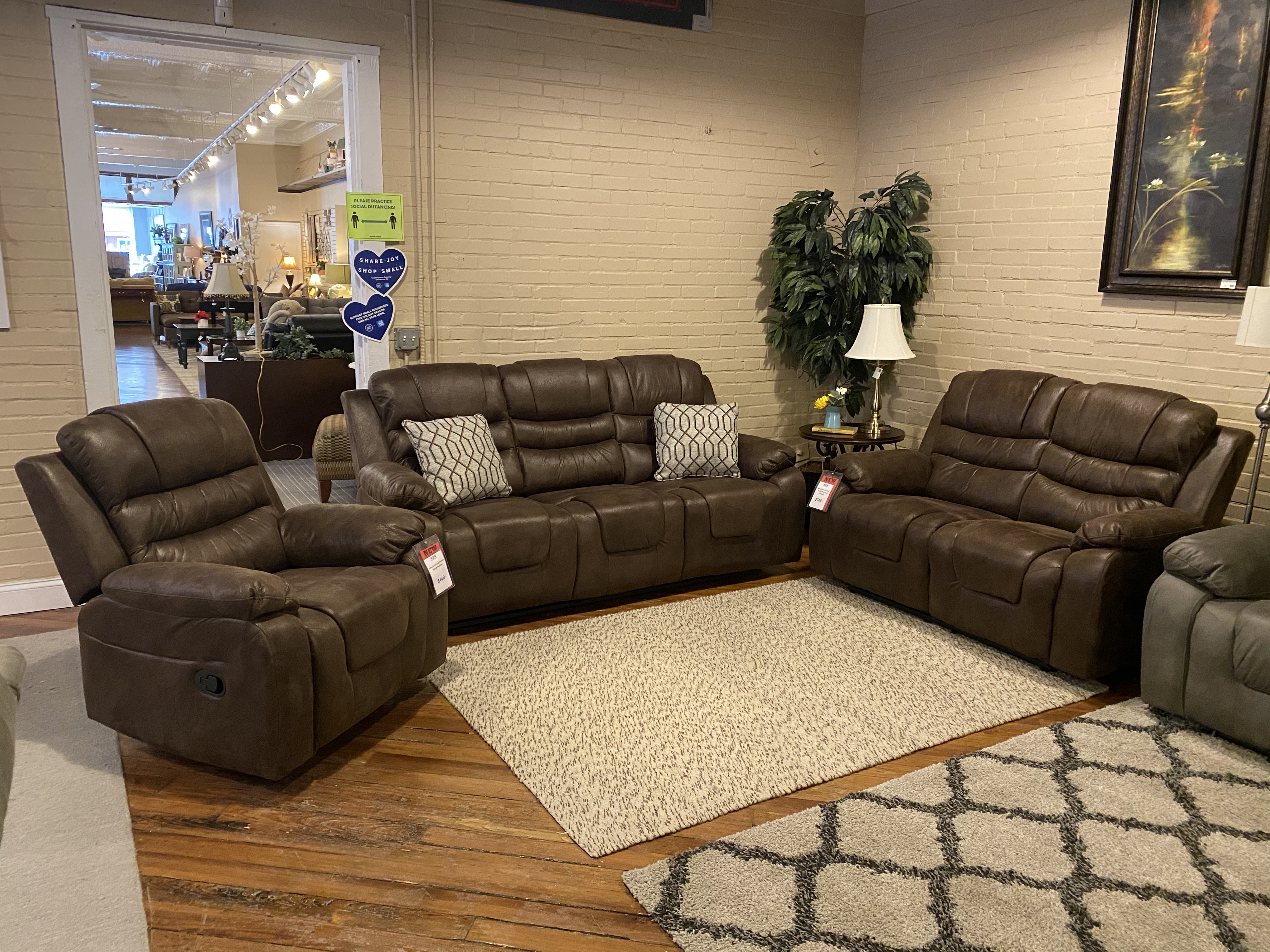 DARK COFFEE DOUBLE RECLINING SOFA & LOVESEAT