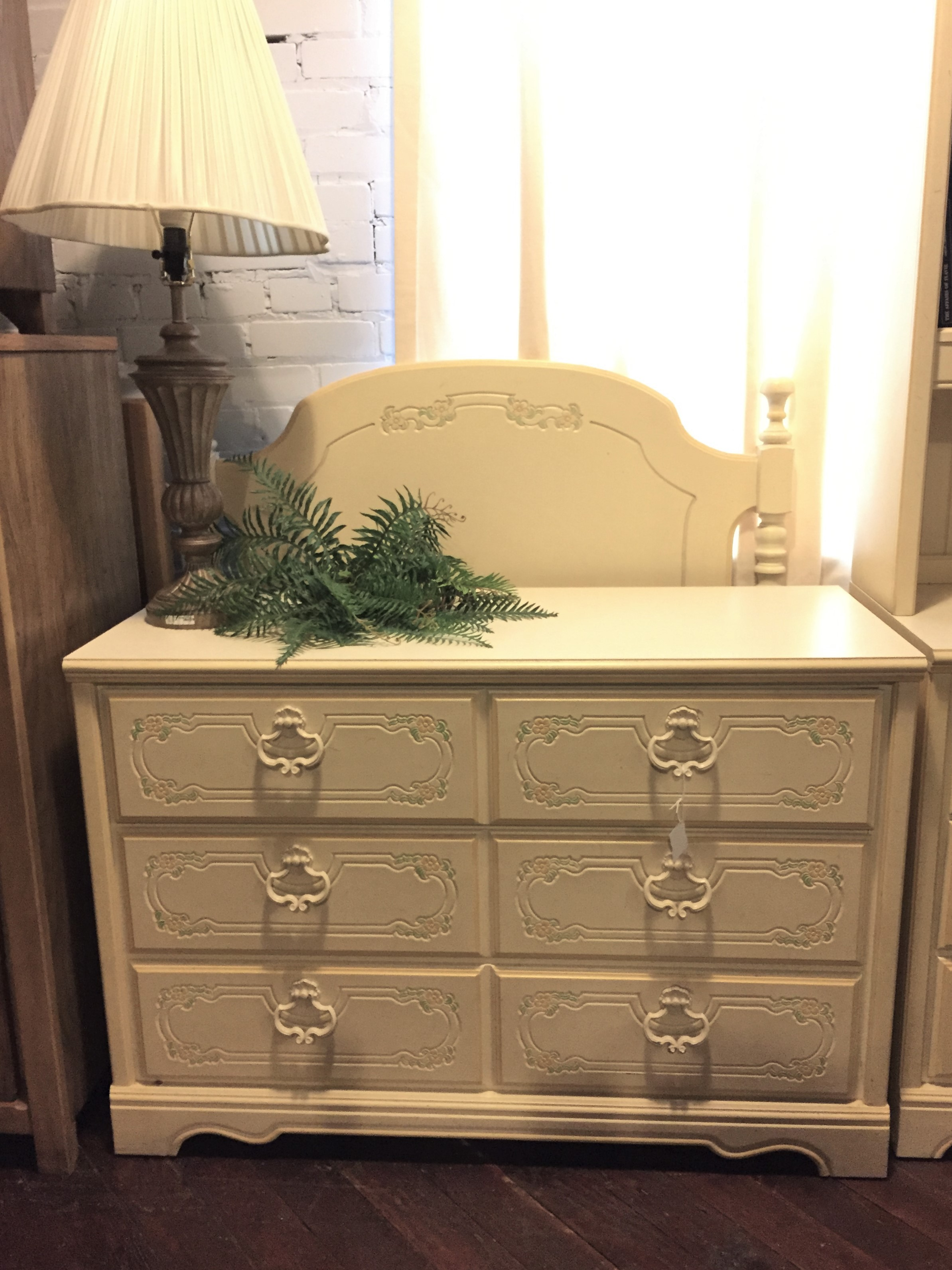 CREAM FLOWERED LOW DRESSER