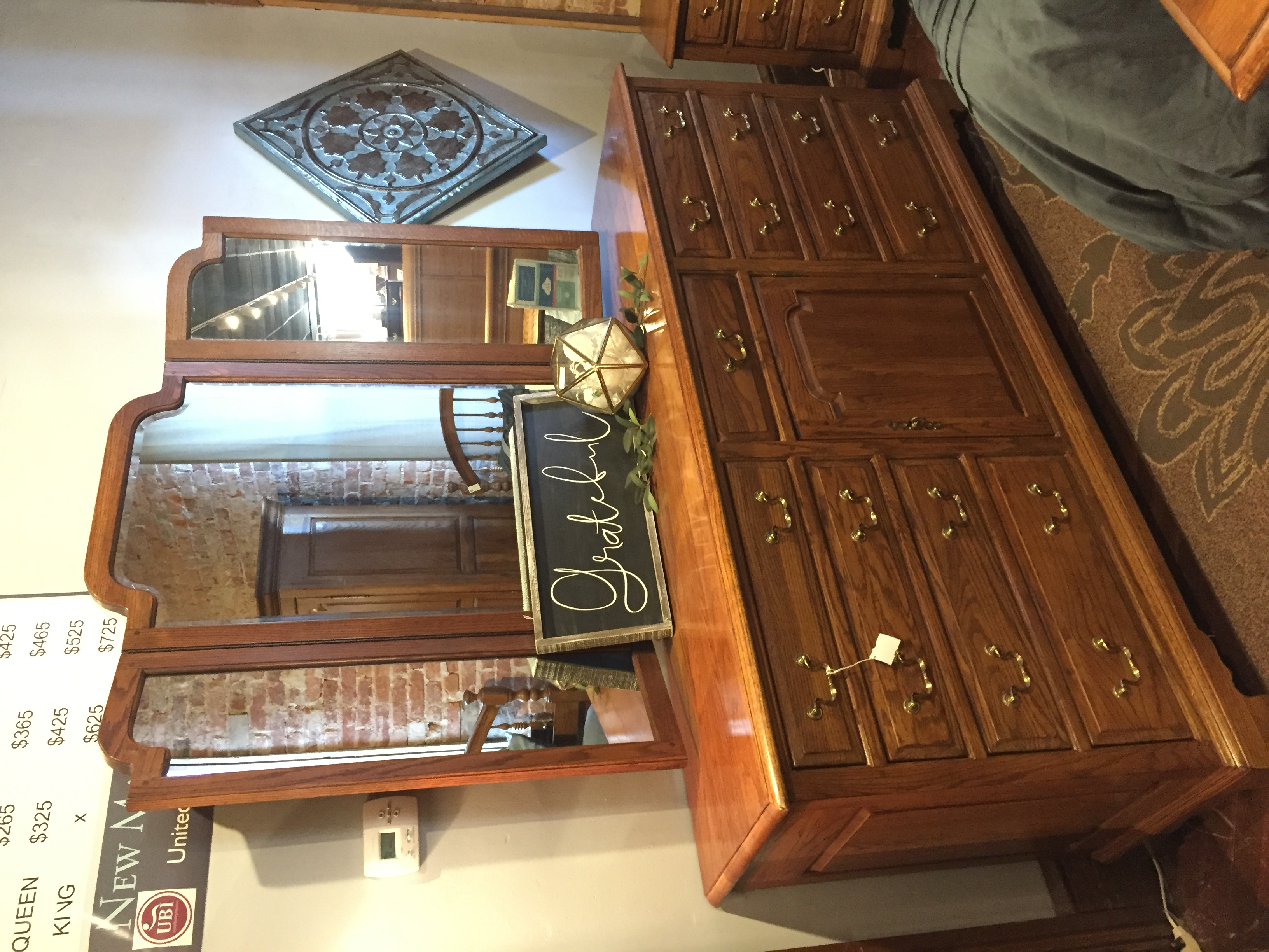 DARK OAK DRESSER W/MIRROR