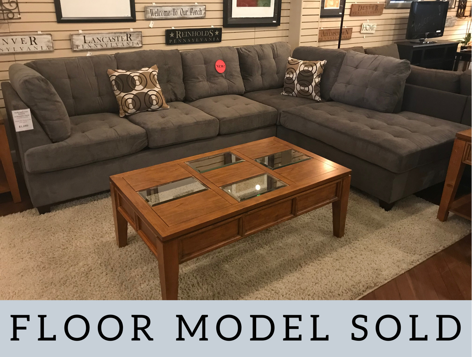 GREY WAFFLE SUEDE SECTIONAL