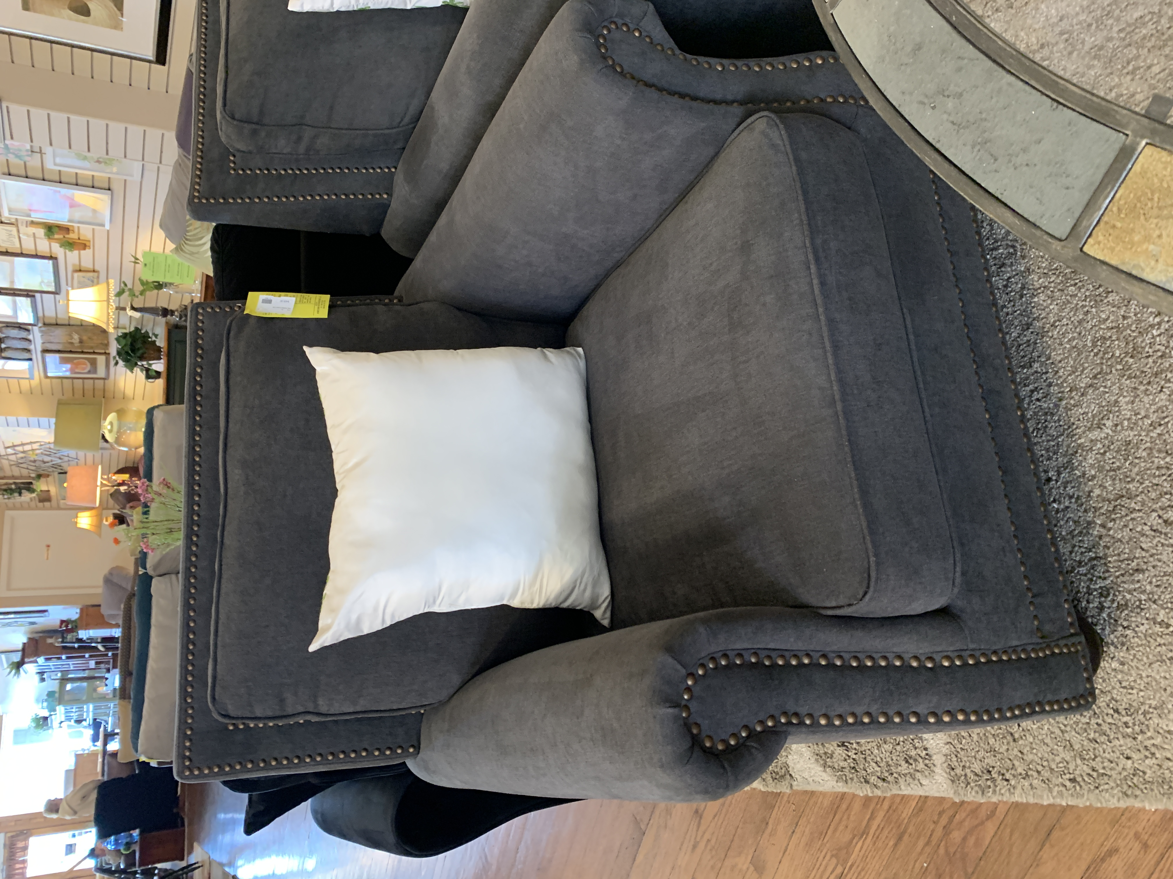 GRAY STUDDED ACCENT CHAIR