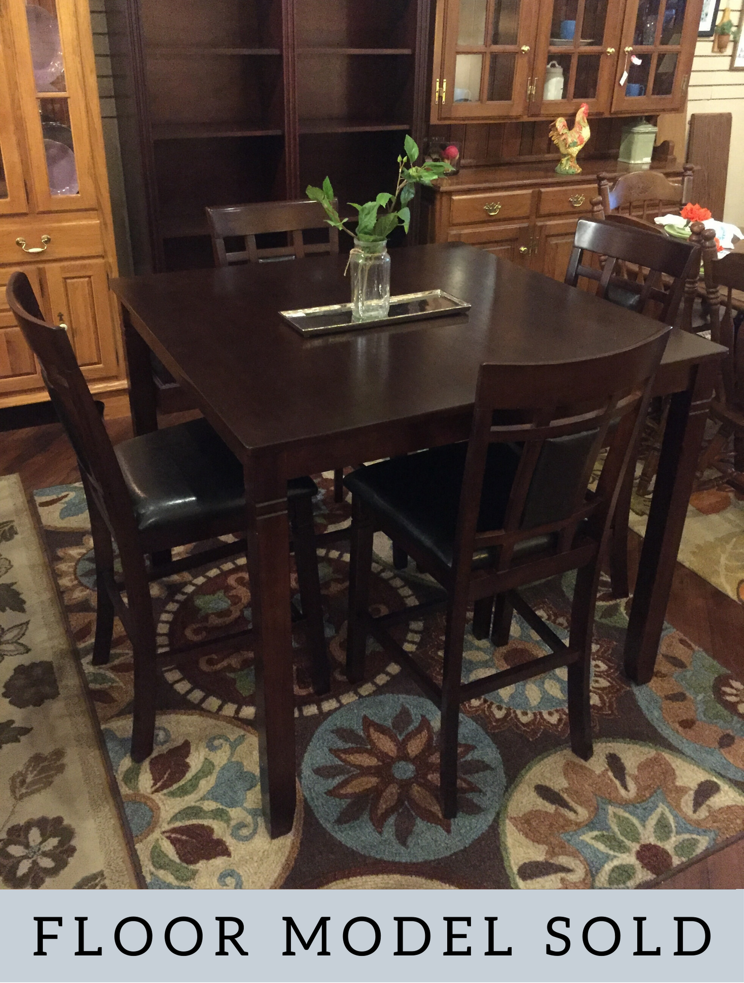 DARK CHERRY COUNTER HEIGHT TABLE & 4 STOOLS
