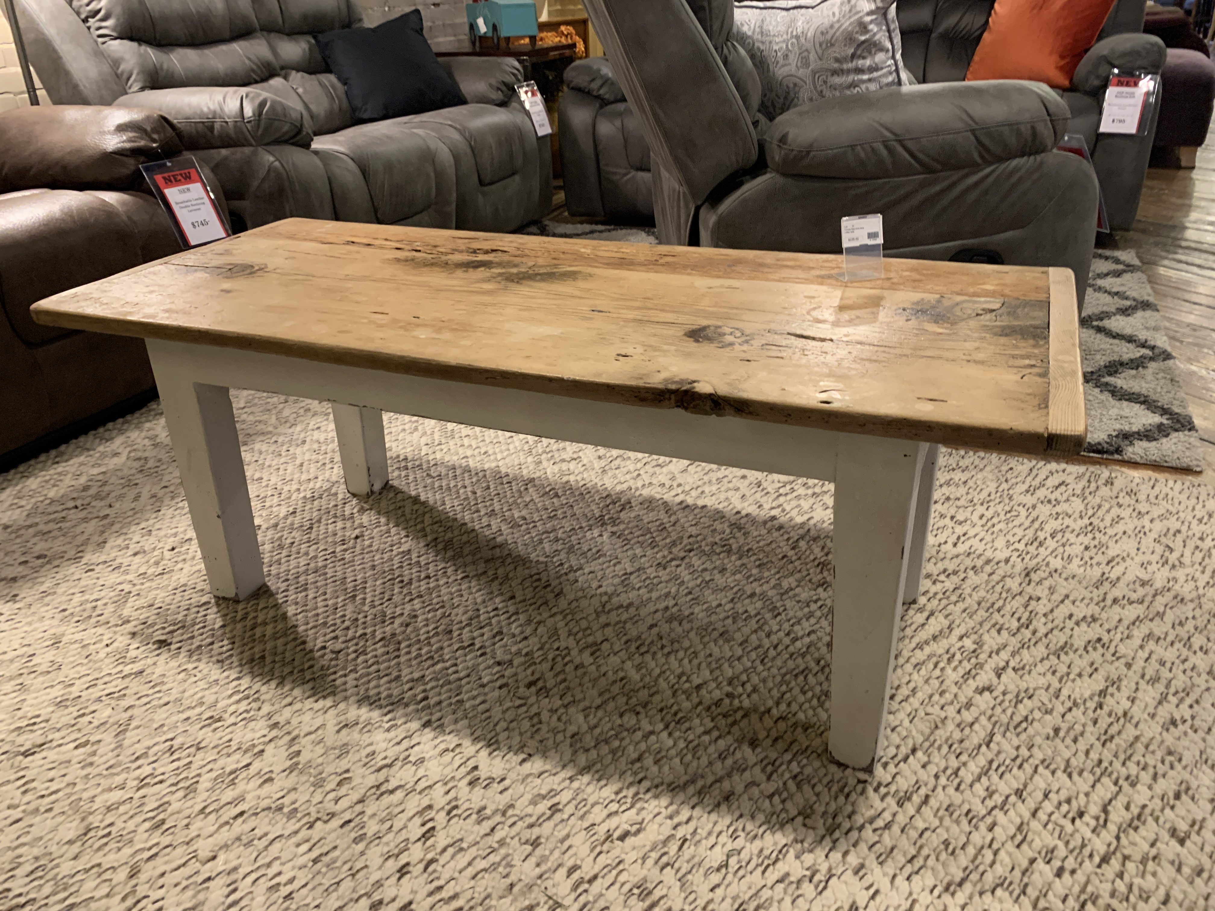 PRIMITIVE STYLE WHITE BASE COFFEE TABLE