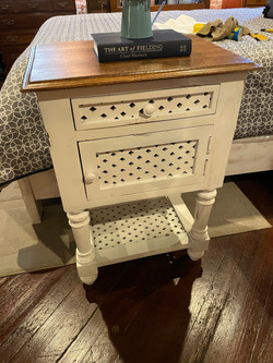 DISTRESSED WHITE NIGHTSTAND WITH CABINET