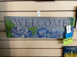 GRAY & PURPLE WELCOME SIGN