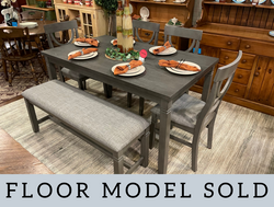 GRAY FINISH TABLE & 4 CHAIRS WITH BENCH