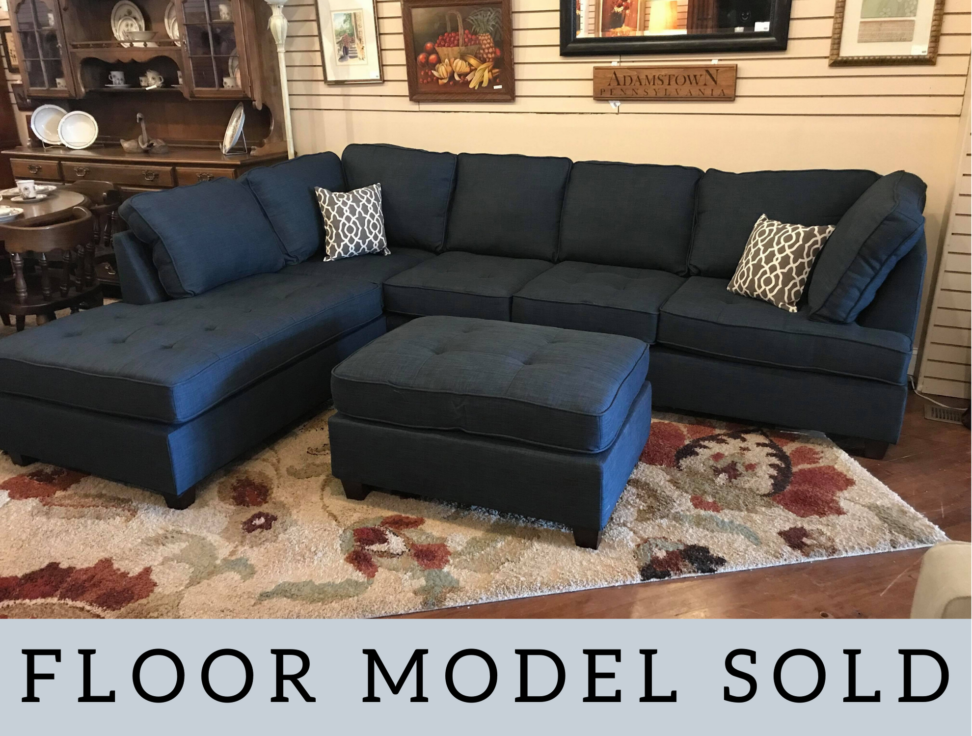 NAVY BLUE SECTIONAL WITH CHAISE