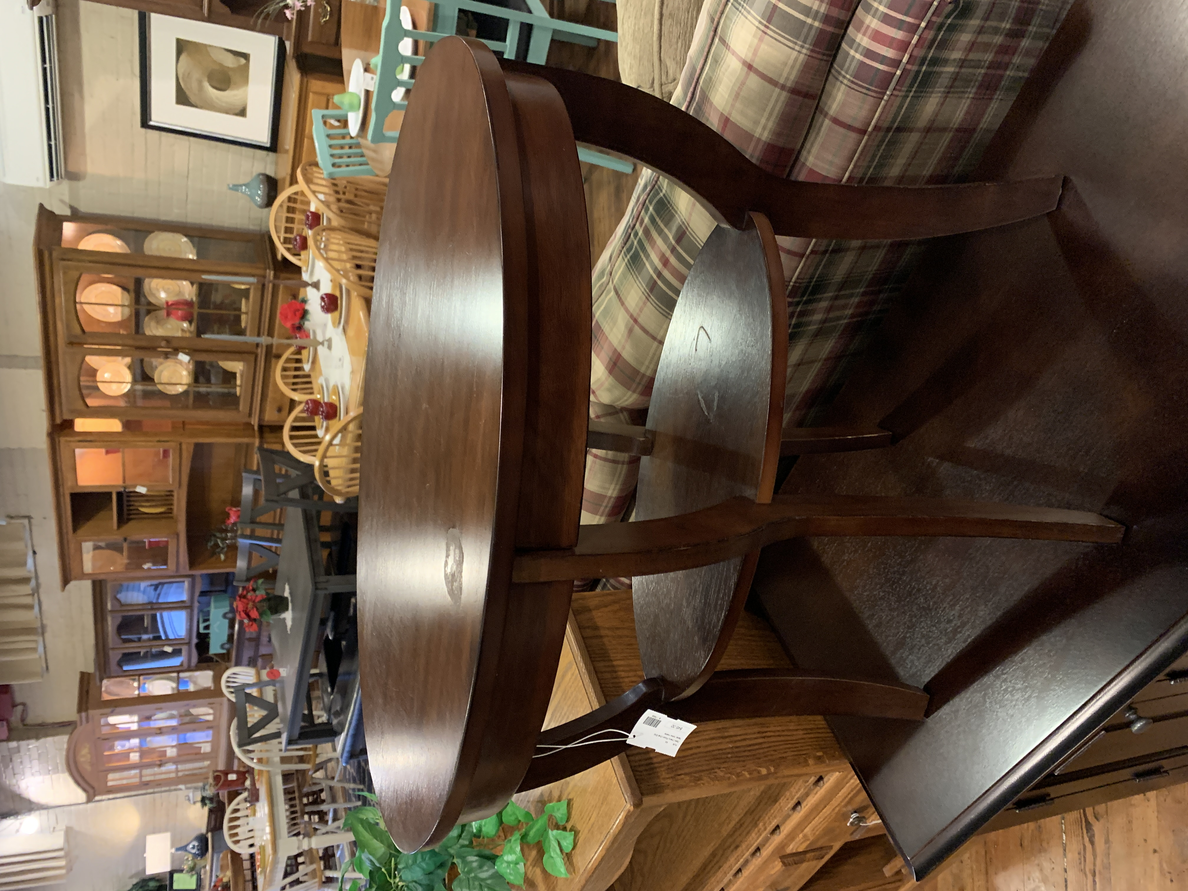 DARK CHERRY OVAL END TABLE