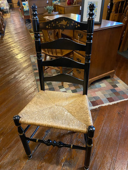 BLACK PAINT DECORATED RUSH SEAT CHAIR