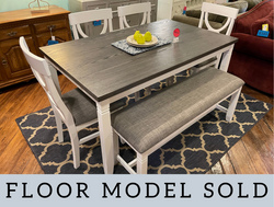 WHITE & GRAY FINISH TABLE W/ 4 CHAIRS & BENCH