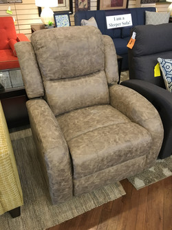 STONE FAUX LEATHER POWER RECLINER
