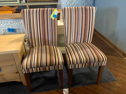 BROWN STRIPED UPHOLSTERED ARM CHAIR
