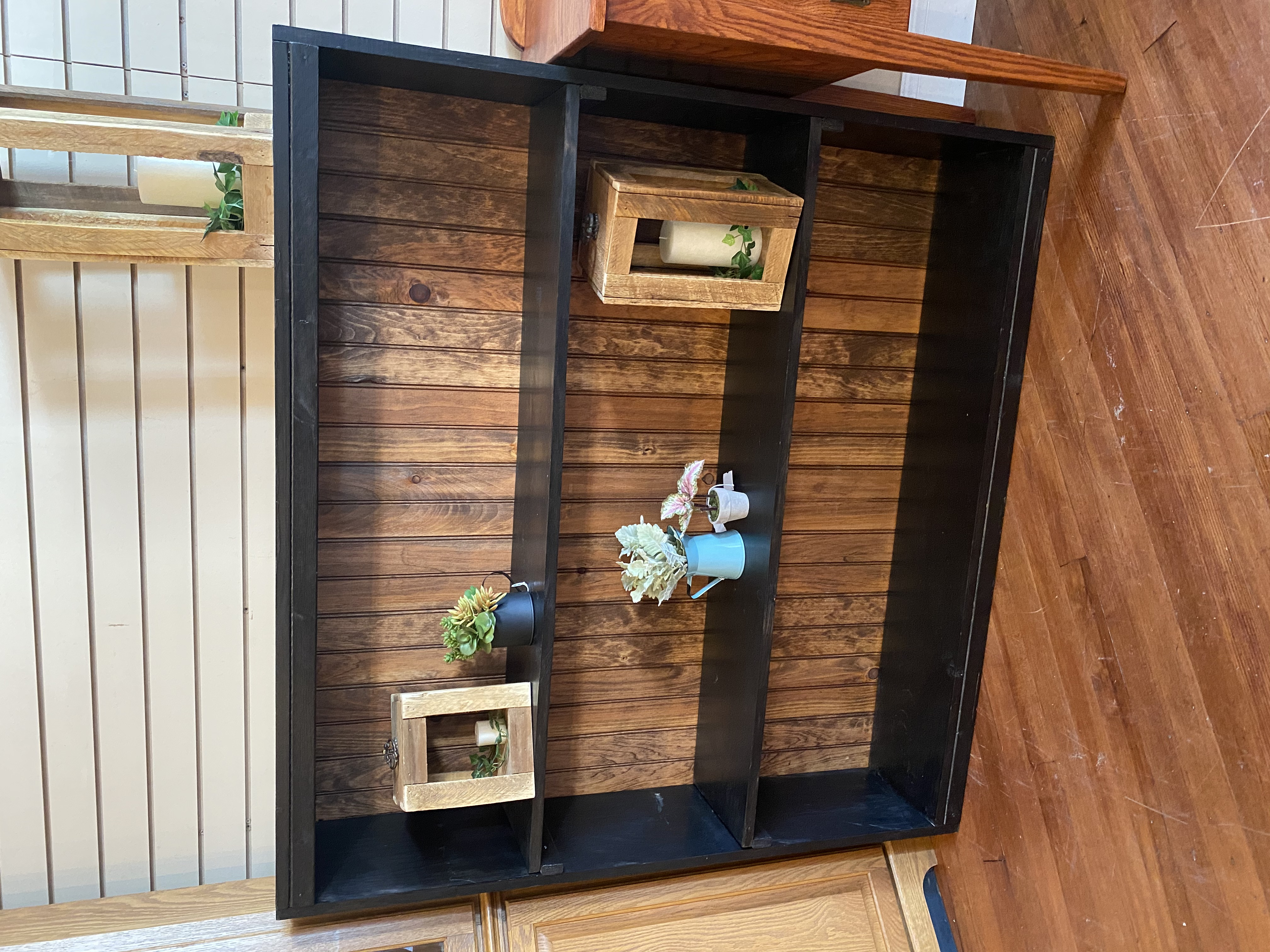 BLACK & WOOD PRIMITIVE BOOKSHELF