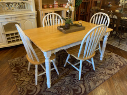 WHITE & WOOD TABLE & 4 CHAIRS