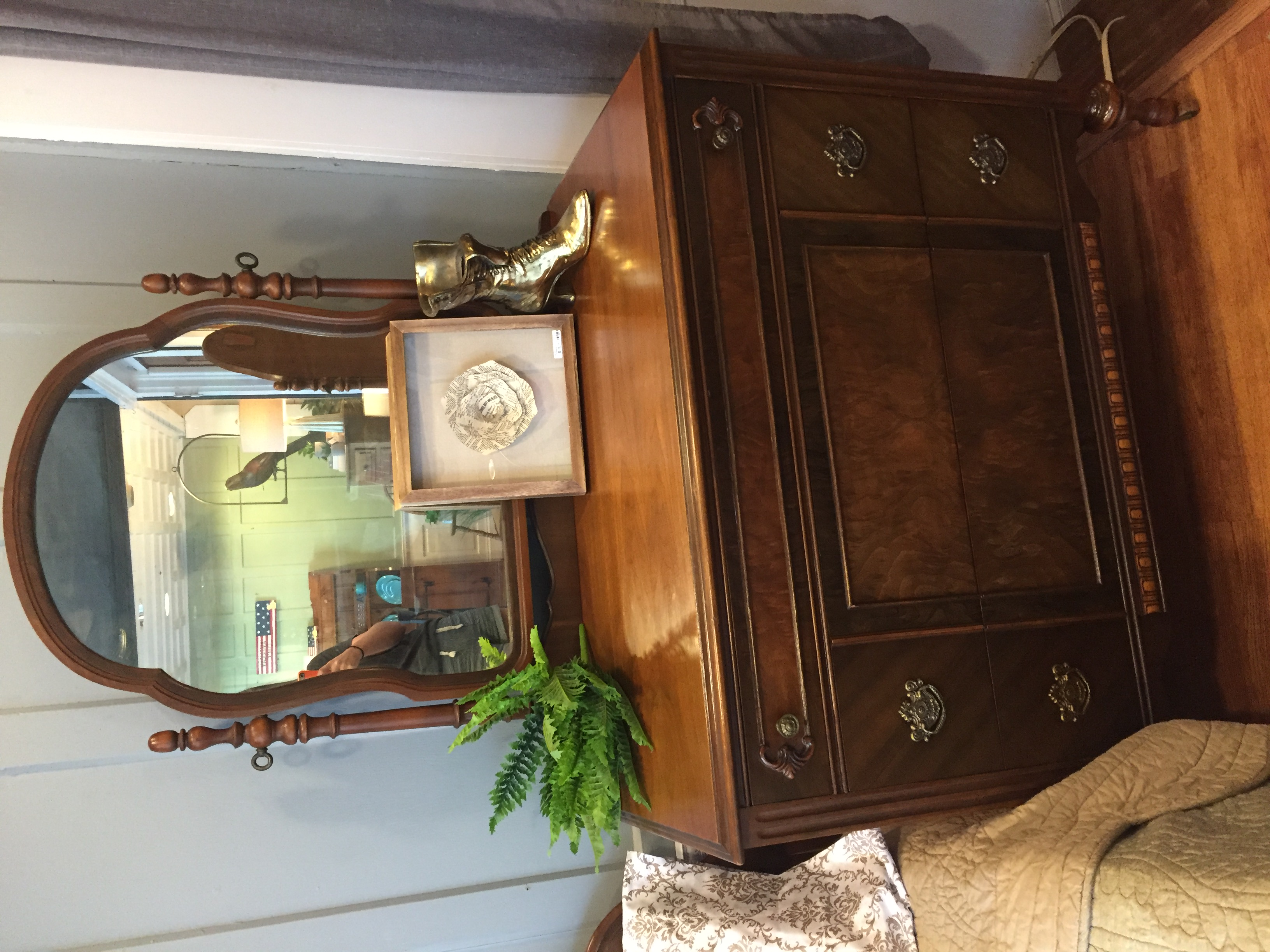 MAHOGANY INLAID DRESSER WITH MIRROR