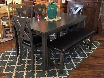 gray dining table & 4 with bench.jpg