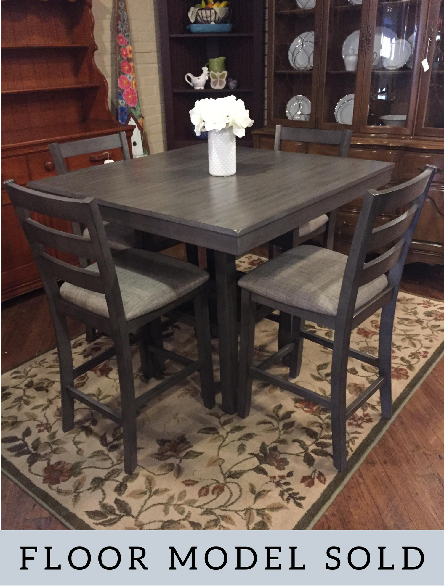 GRAY PUB TABLE & 4 CHAIRS
