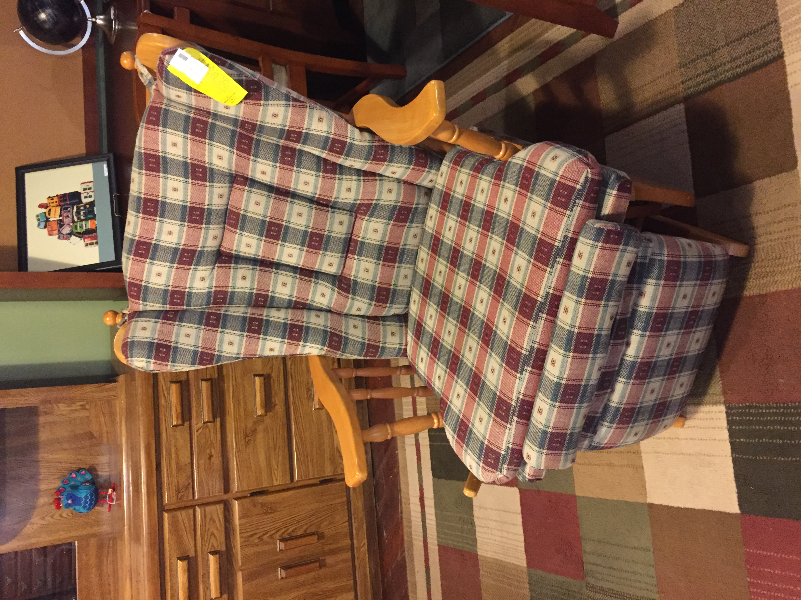 GREEN PLAID GLIDER RECLINER