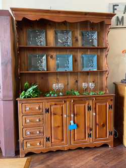 PINE OPEN PEWTER HUTCH