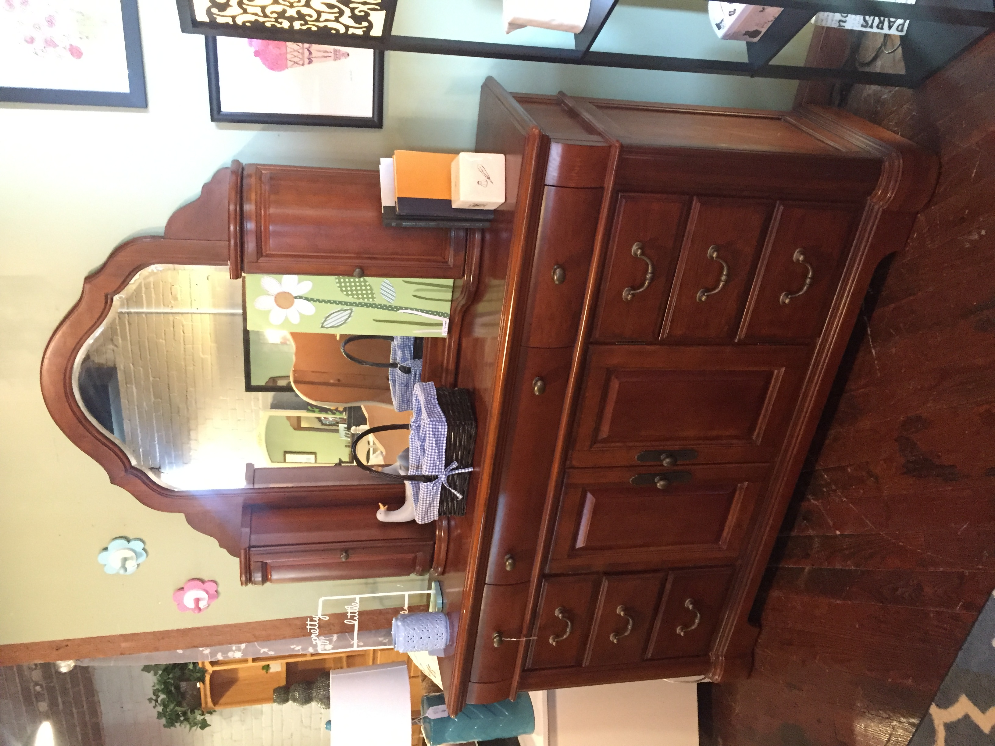 CHERRY FINISH DRESSER W/CABINET MIRROR