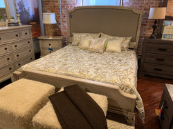 CREAM UPHOLSTERED KING BED W/RAILS