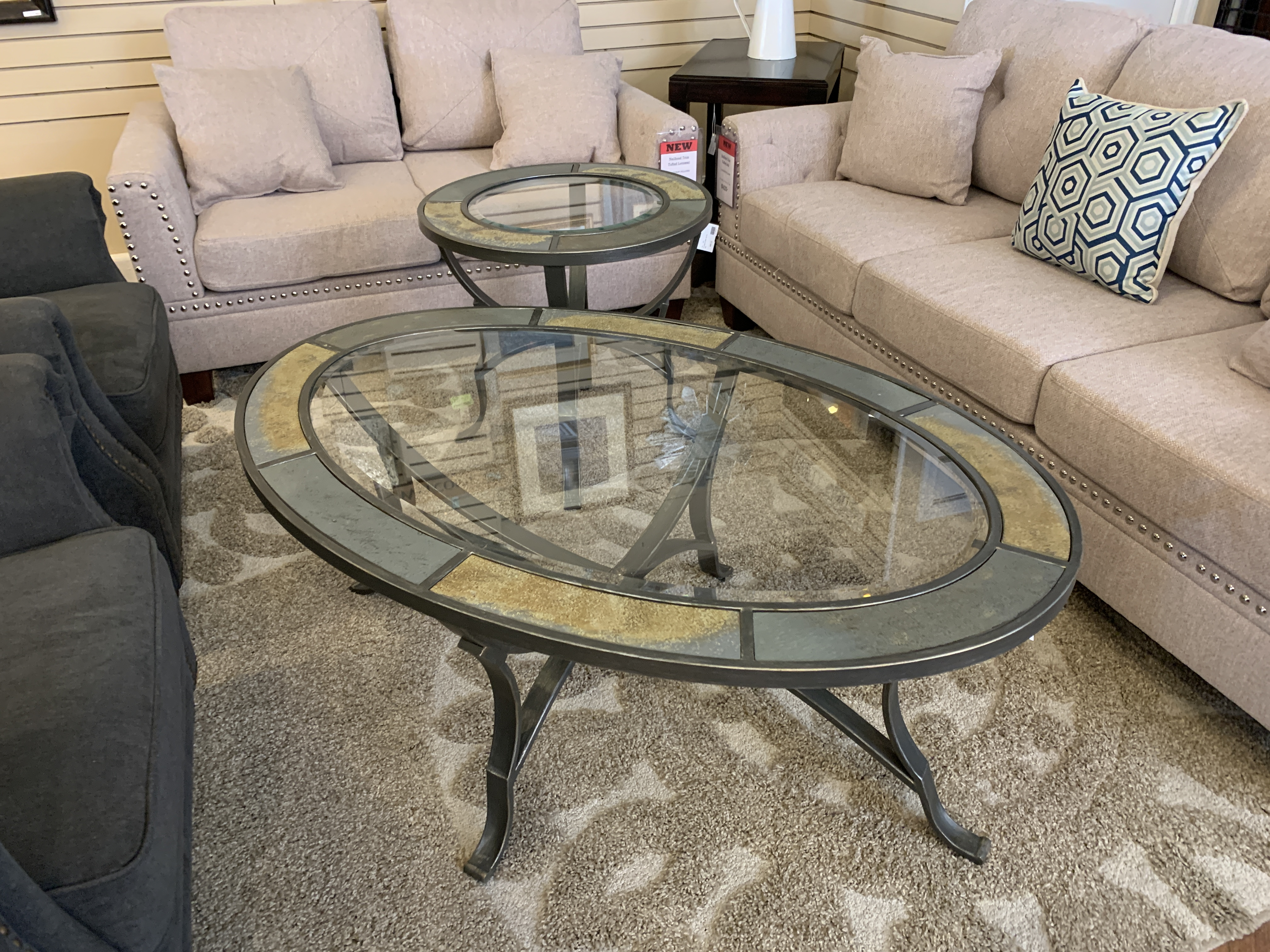 OVAL STONE & GLASS TOP COFFEE TABLE & END TABLE