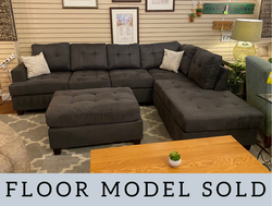 GRAY MICROFIBER SECTIONAL WITH OTTOMAN