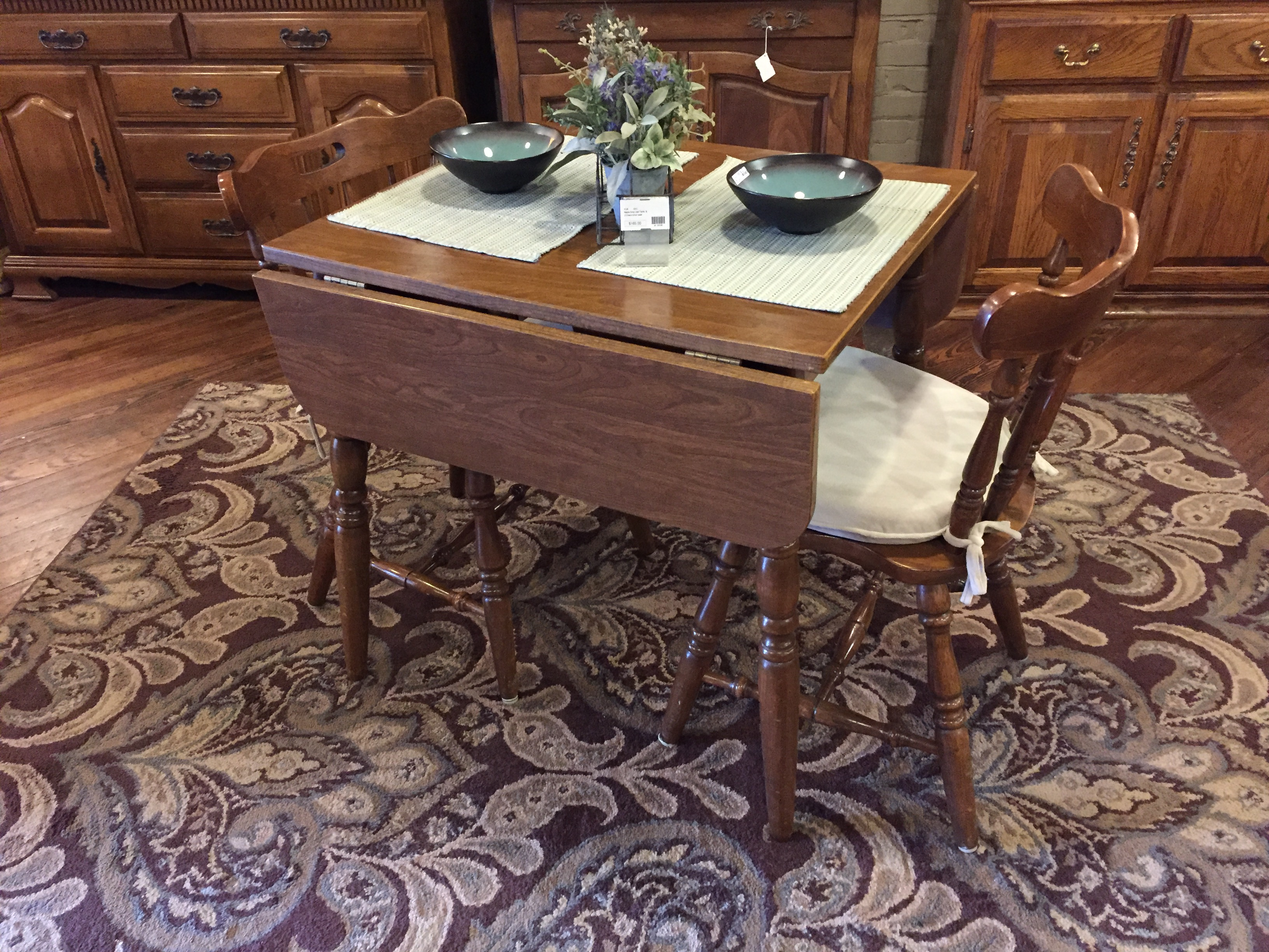 MAPLE DROP LEAF TABLE & 2 CHAIRS