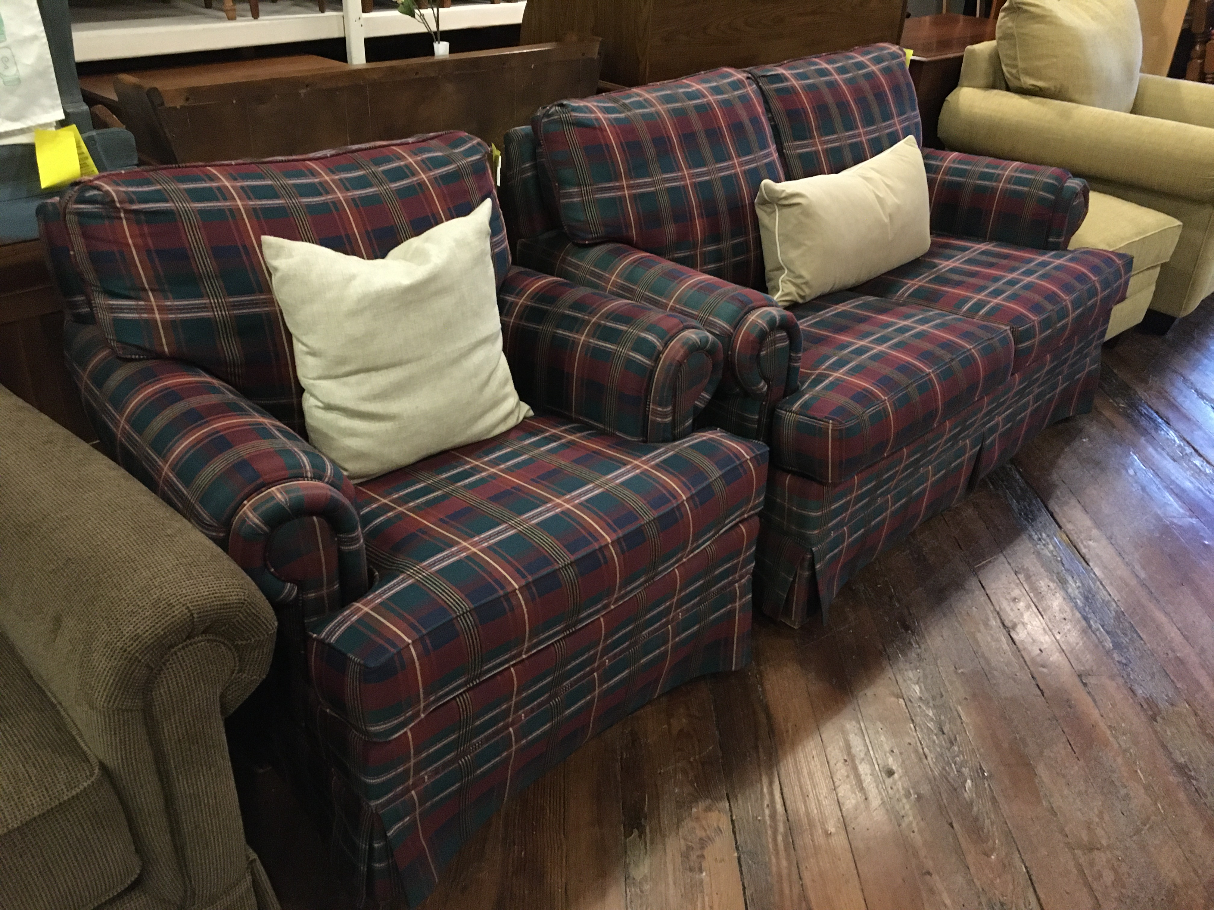 BROYHILL BLUE & RED PLAID LOVESEAT & CHAIR