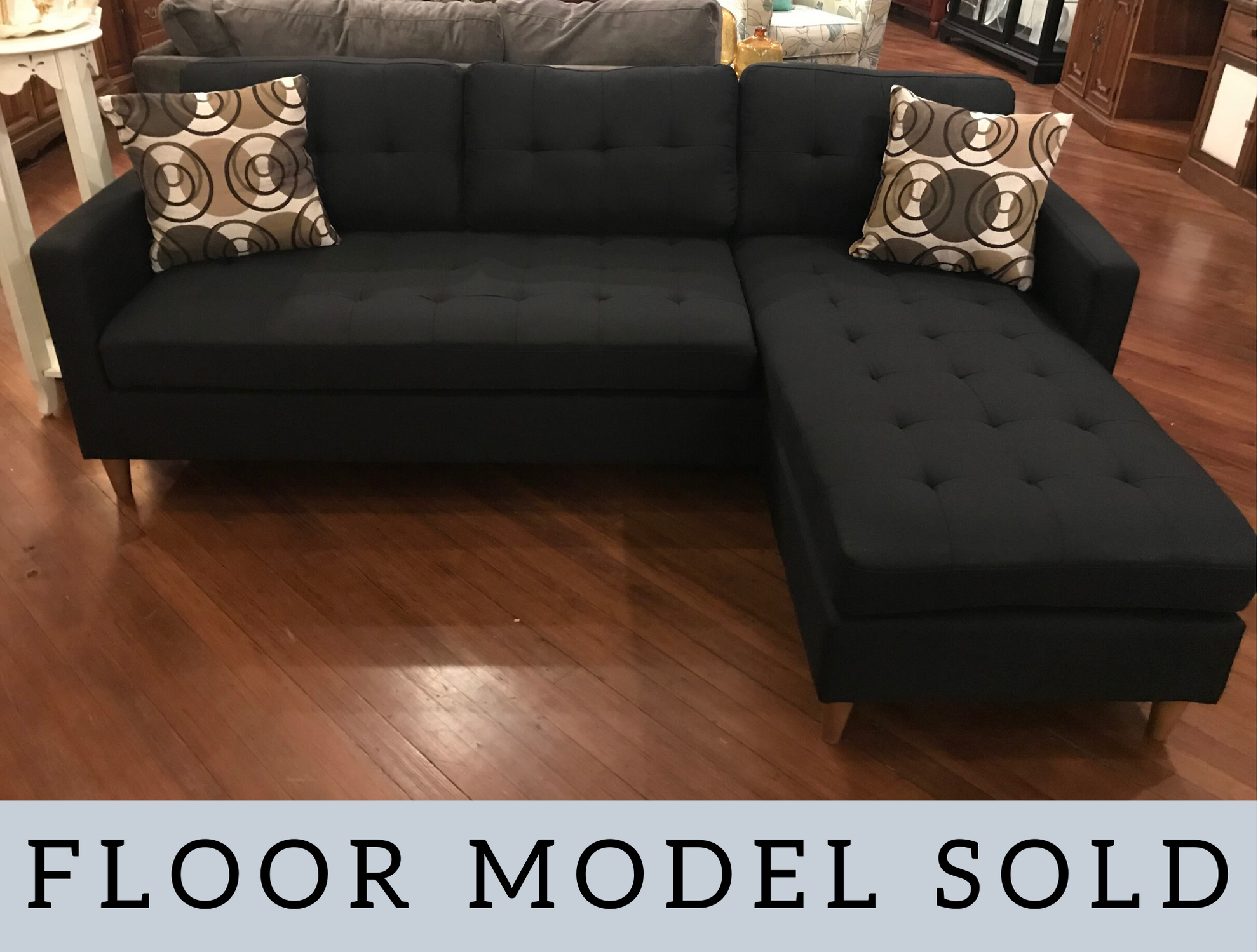 BLACK SOFA WITH CHAISE