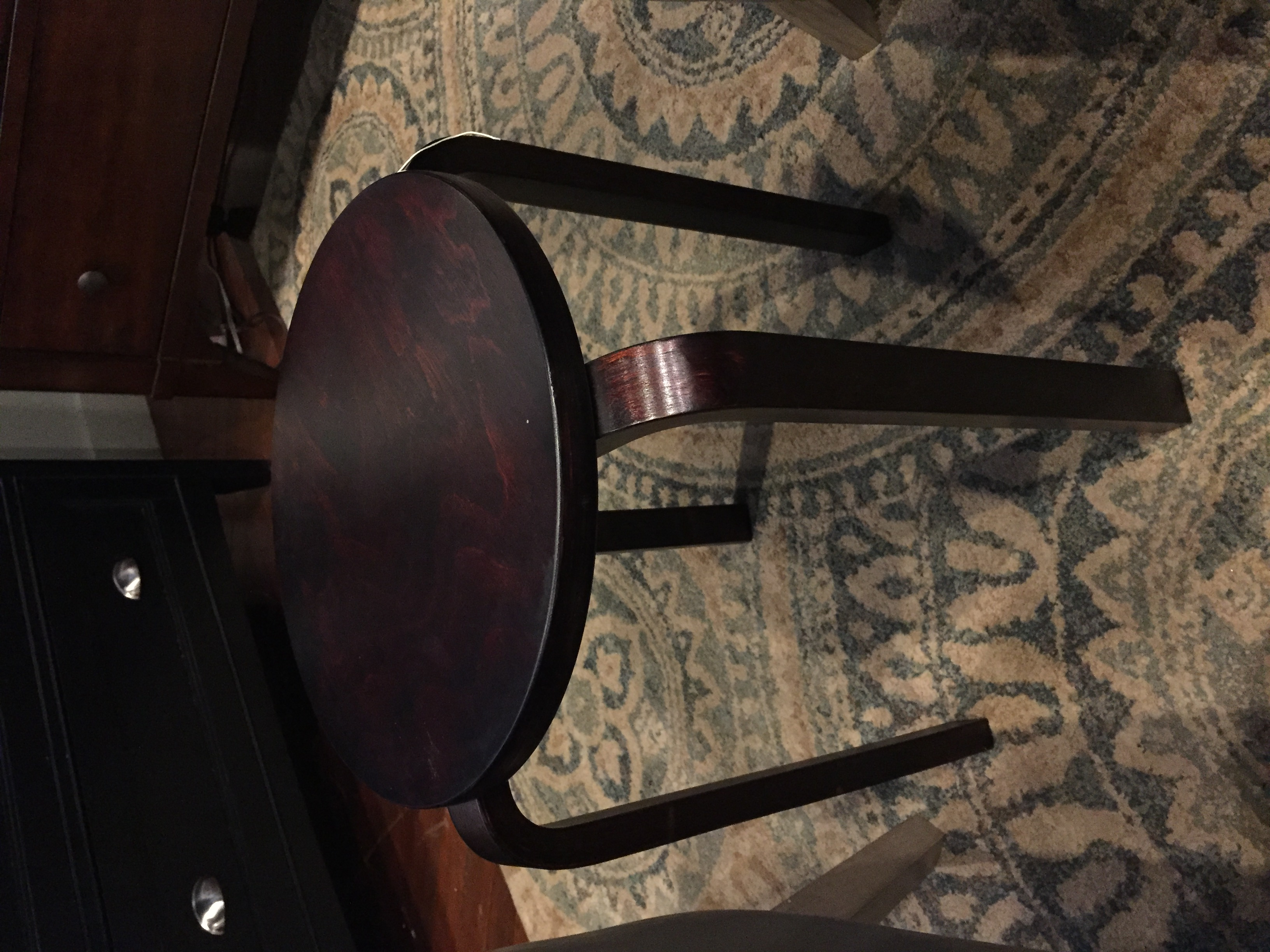 SMALL DARK CHERRY FINISH END TABLE