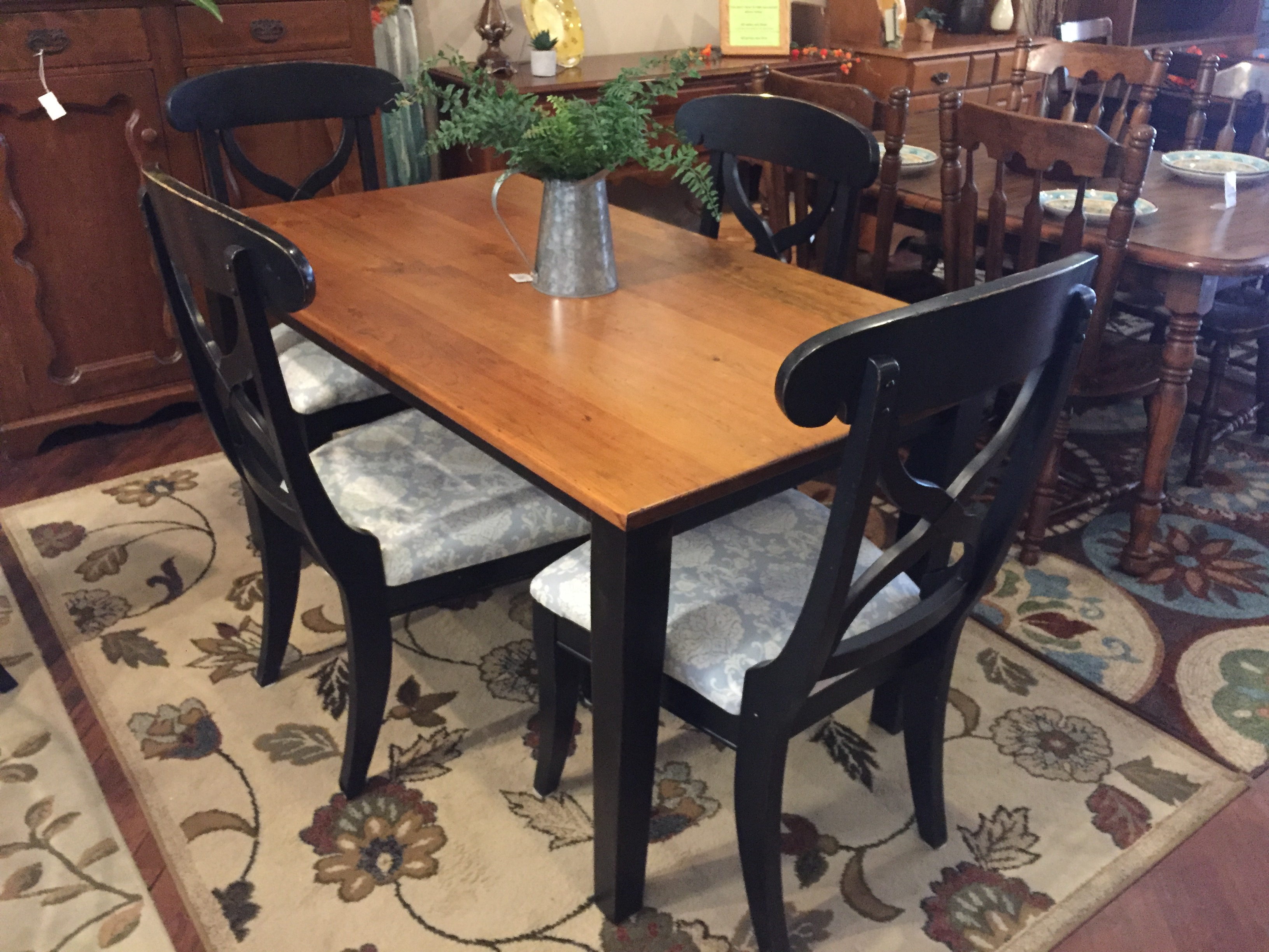 BLACK & WOOD TABLE & 4 CHAIRS