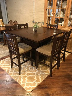 ROSY BROWN PUB TABLE & 6 STOOLS