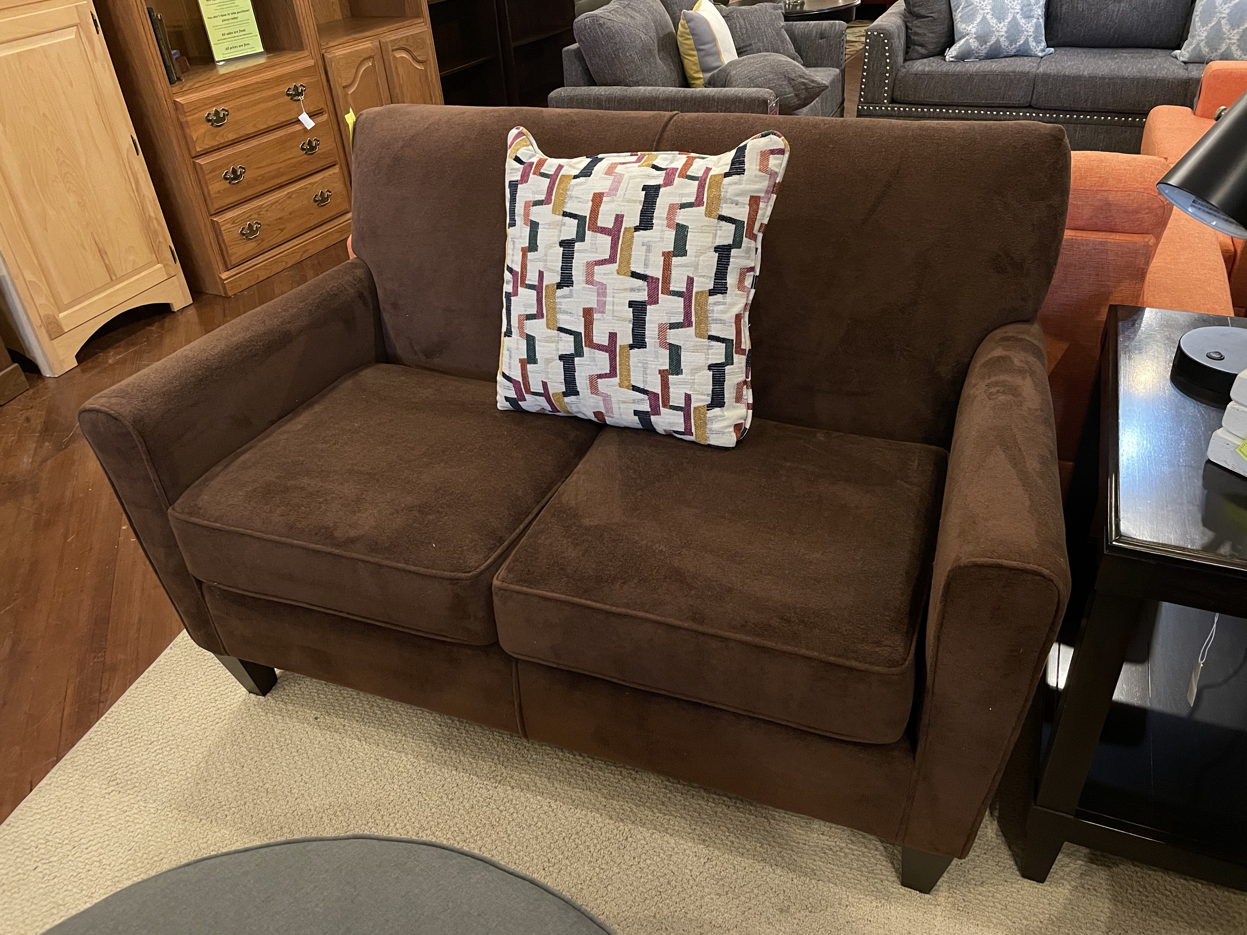 ENGLAND SMALL BROWN LOVESEAT