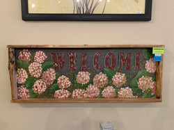 LARGE HYDRANGEA WELCOME SIGN