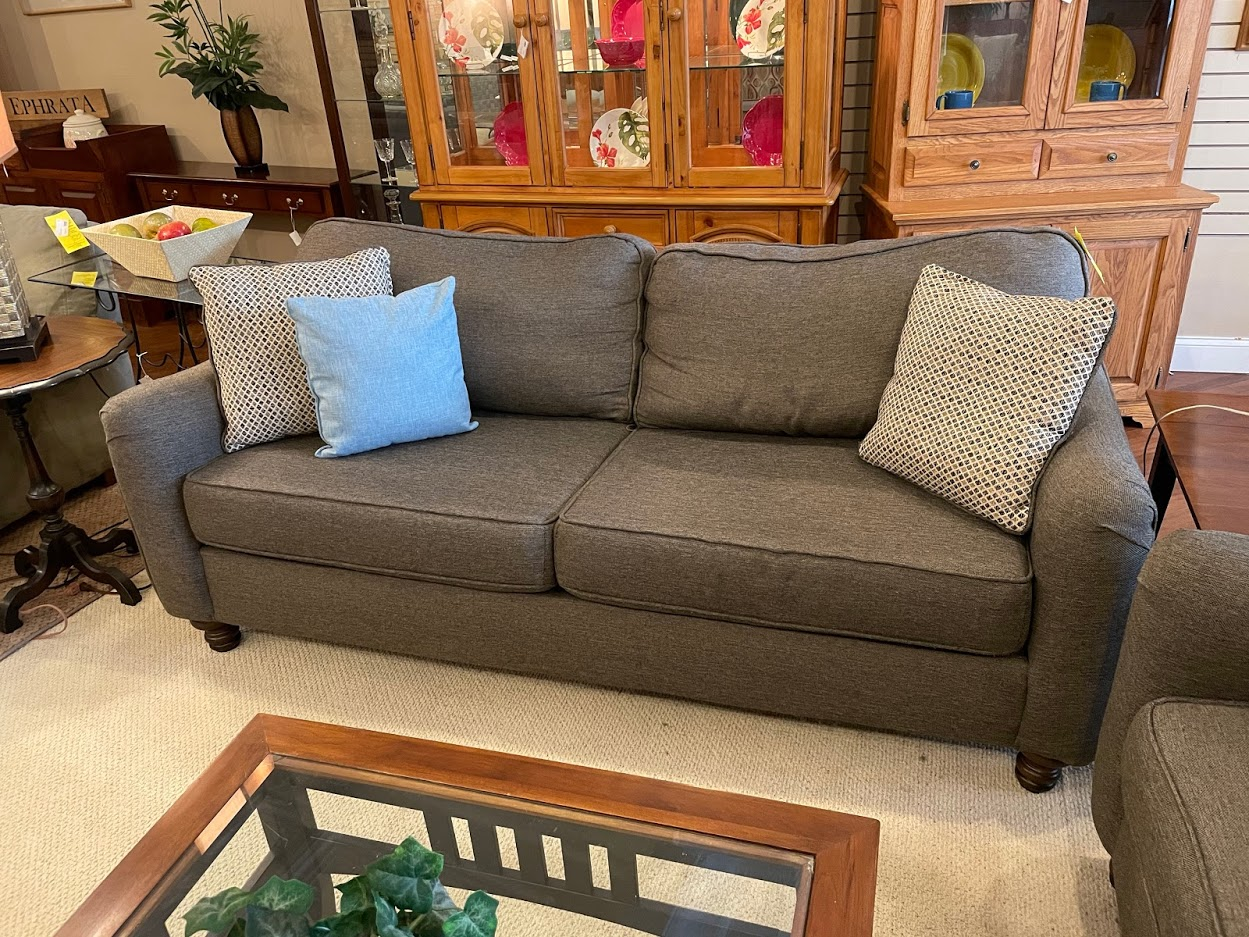 GRAY ROLLED ARM SOFA
