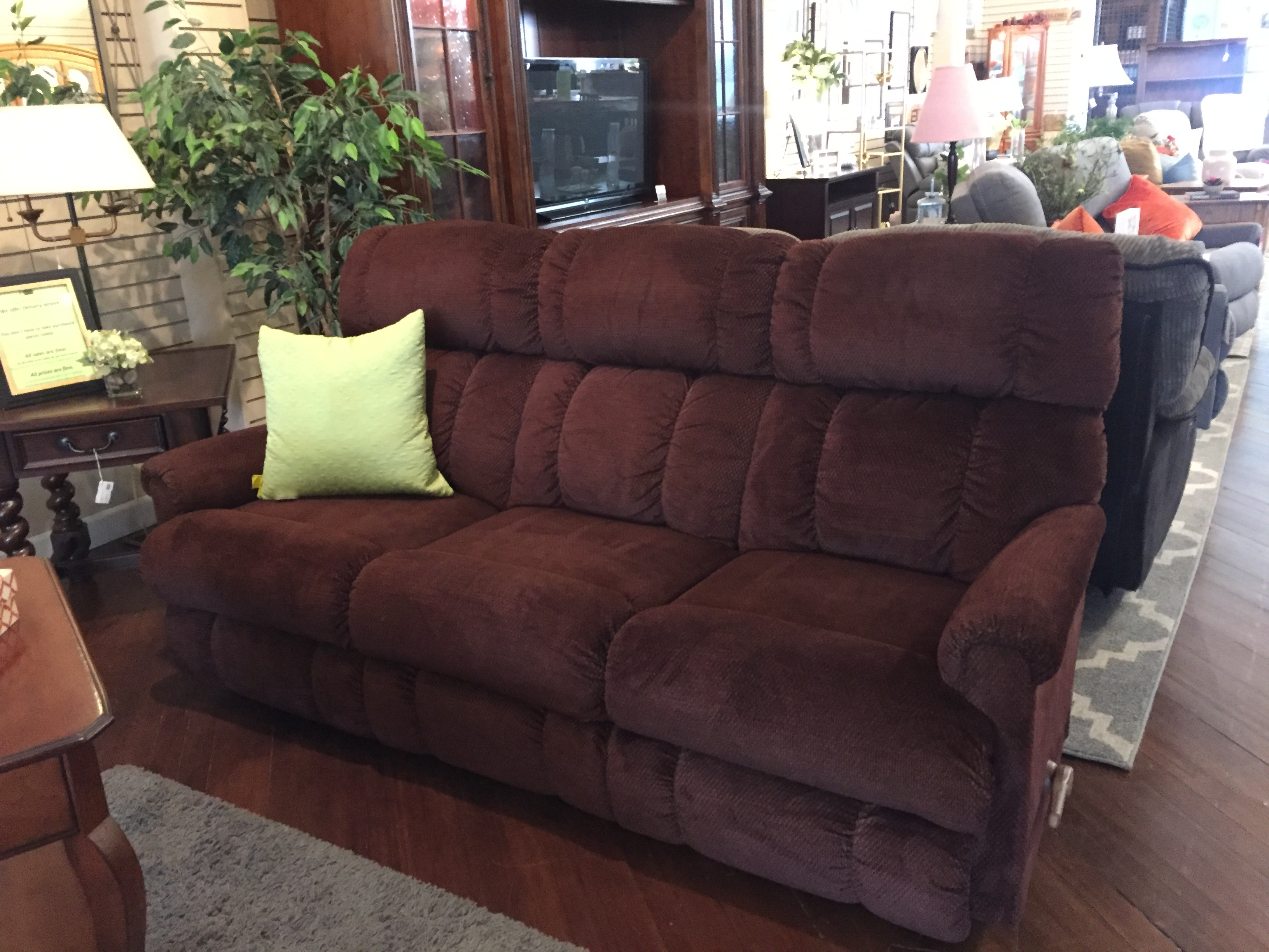 BROWN DOUBLE RECLINING SOFA
