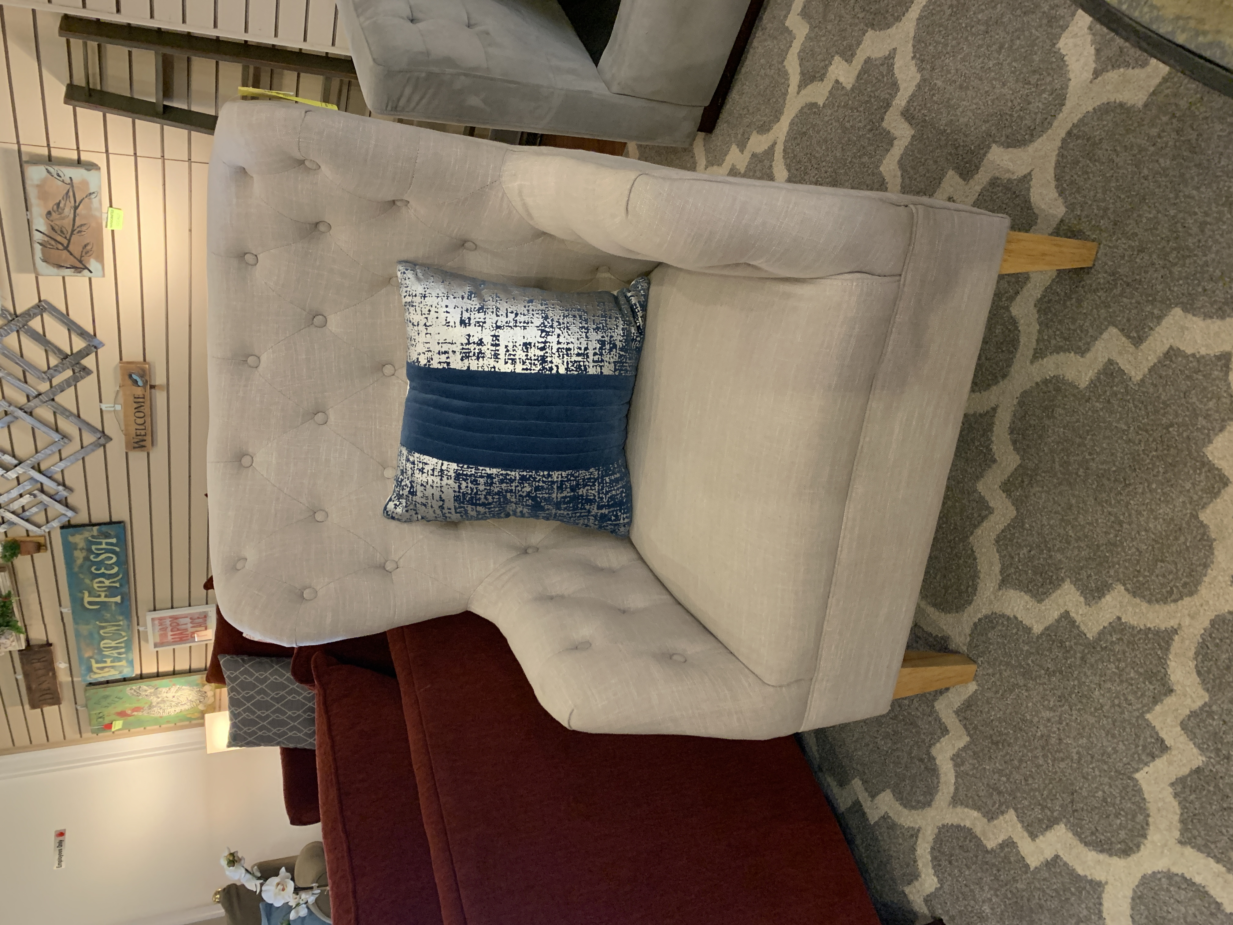 CREAM TUFTED WINGBACK CHAIR