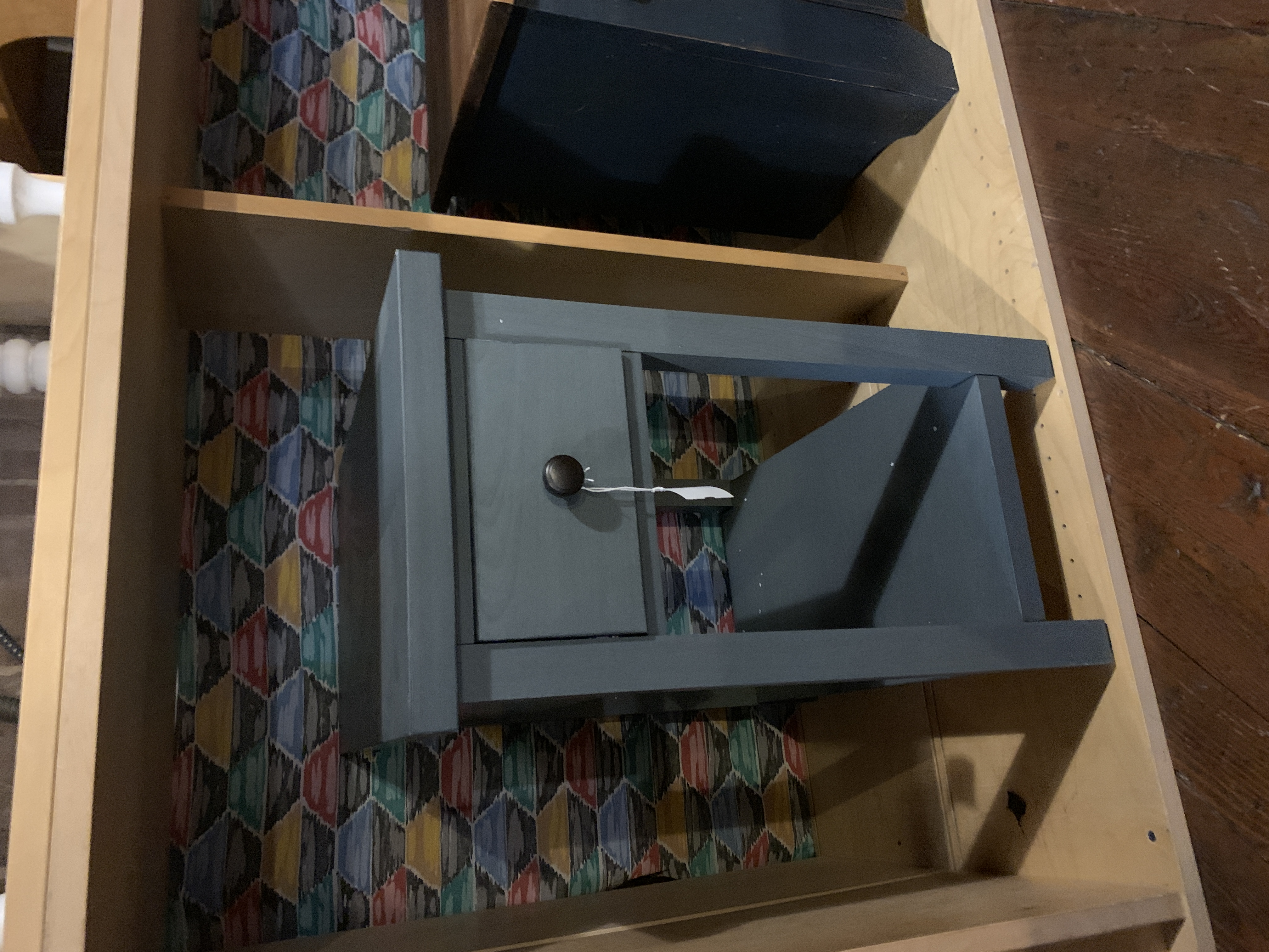 BLUE GRAY 1 DRAWER END TABLE