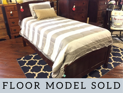 CHERRY FINISH TWIN PANEL BED WITH RAILS