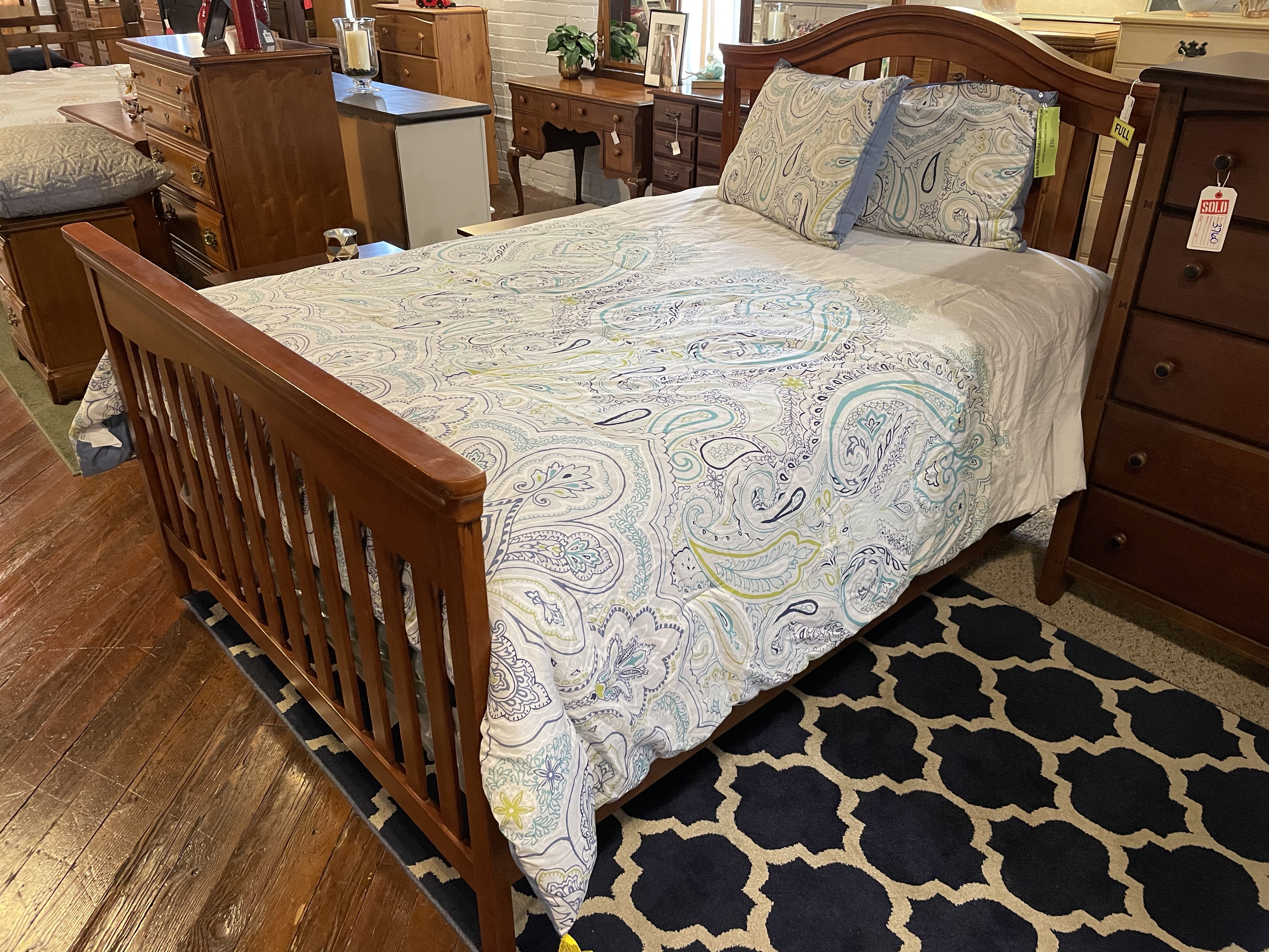 STANLEY CHERRY FINISH FULL BED WITH RAILS