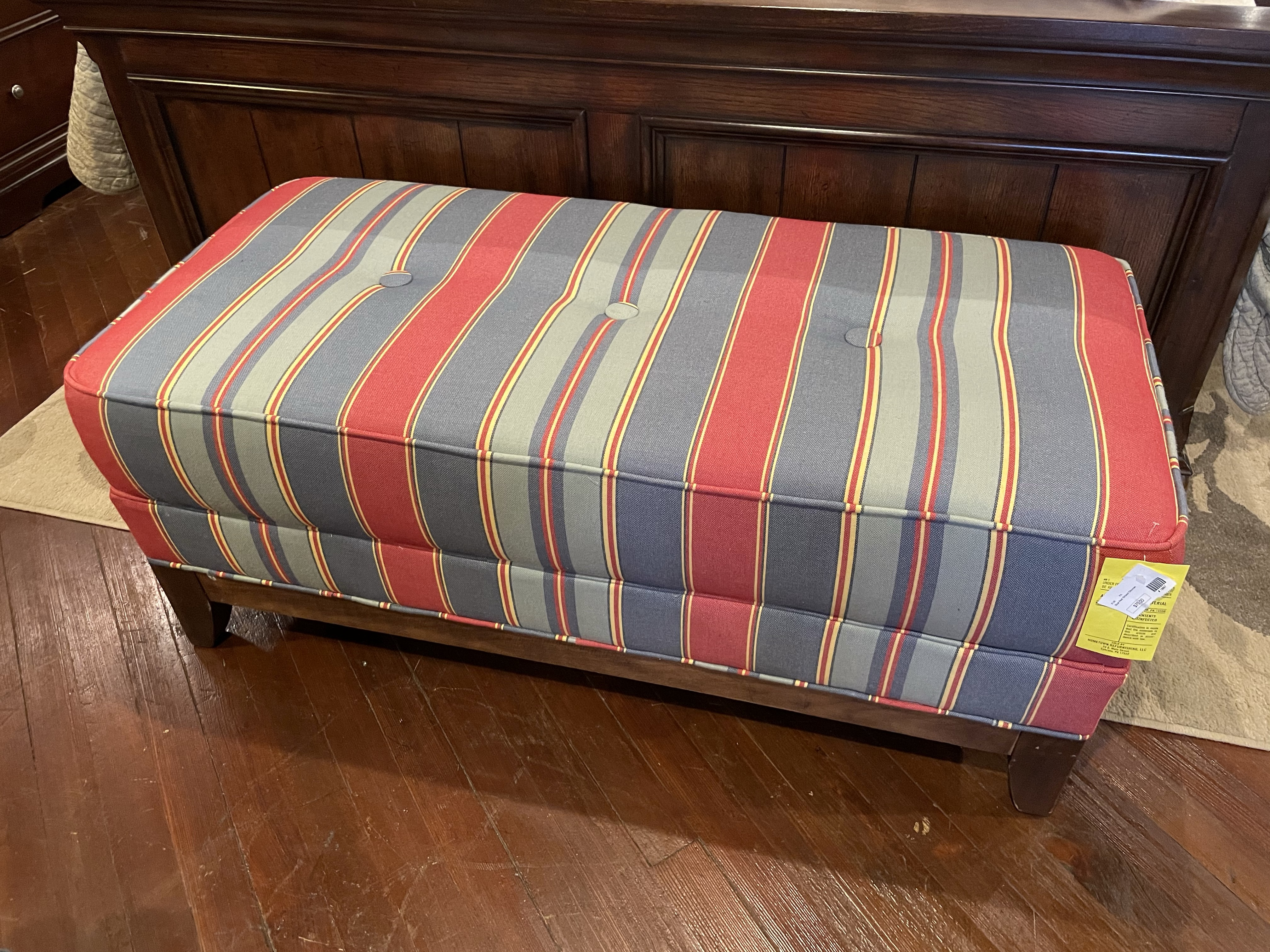 RED & BLUE STRIPED OTTOMAN