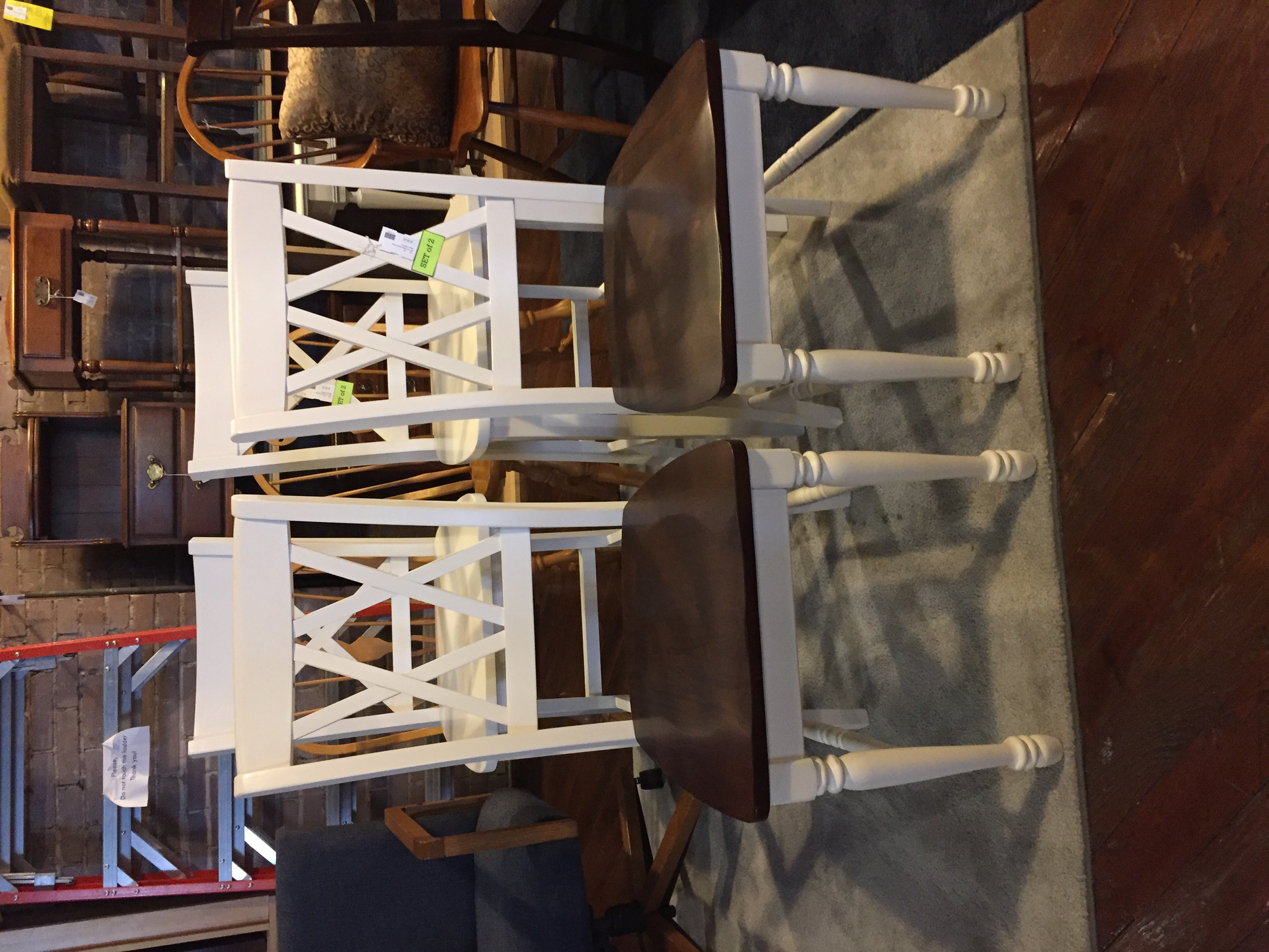 WHITE & WOOD DINING CHAIRS