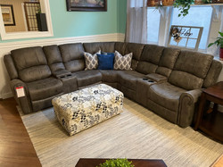 ANTIQUE GRAY LEATHERETTE POWER RECLINING SECTIONAL
