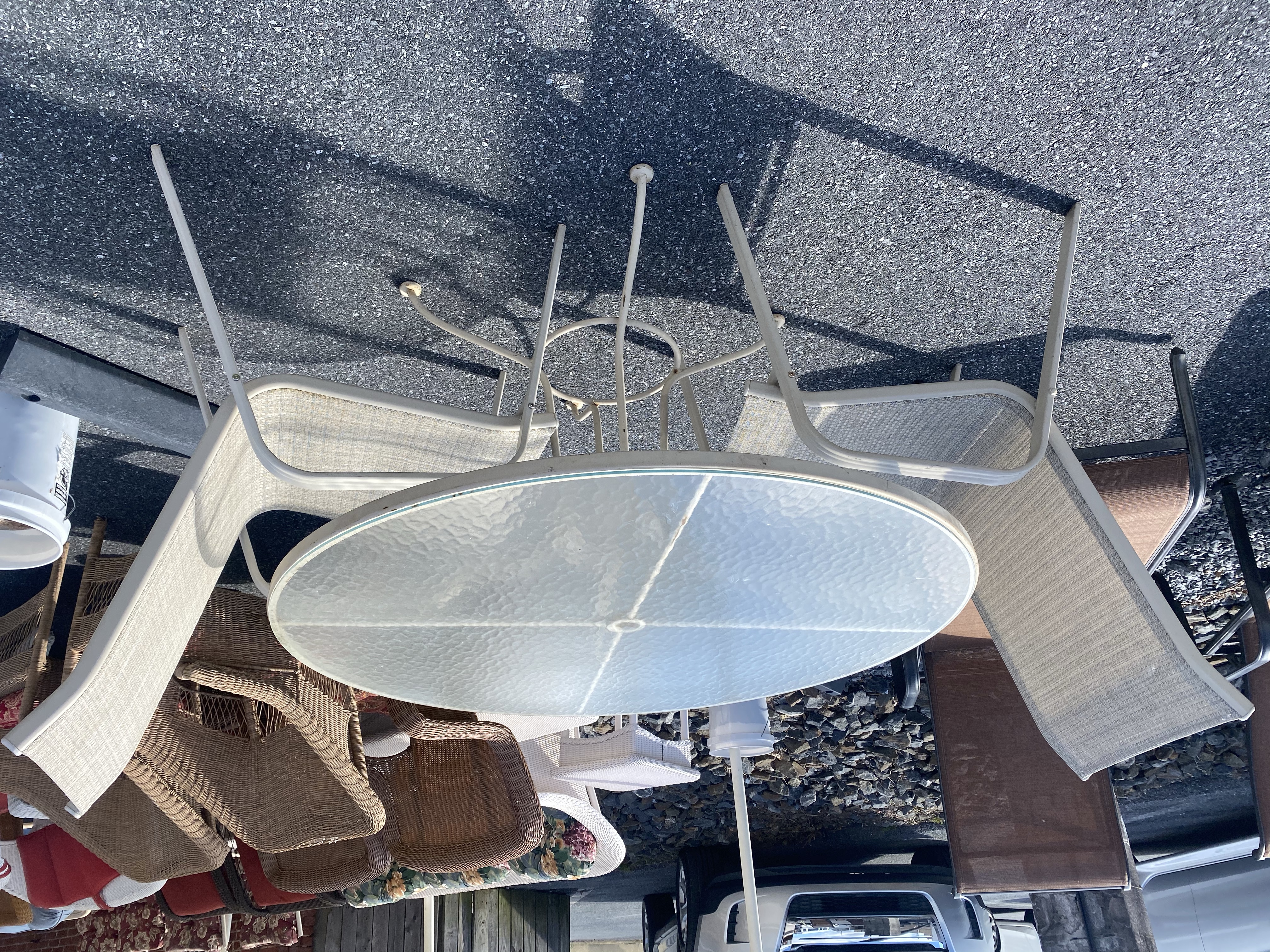 GLASS TOP TABLE & 2 CHAIRS