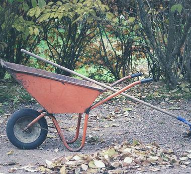 Ancinho e carrinho de mão