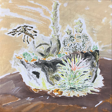 Cheung Tsz Hin, Plant III, 2017, Oil on Canvas, 30x30cm