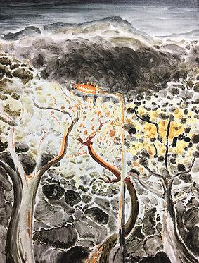 Cheung Tsz Hin, Road at Night, 2017, Oil on Canvas, 40x30cm
